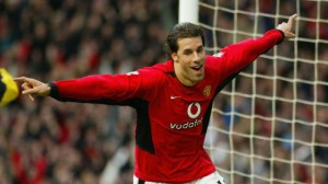 Manchester United's Ruud Van Nistelrooy celebrates after scoring against Manchester City during their Premiership soccer match at Old Trafford, Manchester, England Saturday Dec. 13, 2003. (AP Photo/ Phil Noble, PA) ** UNITED KINGDOM OUT NO SALES MAGAZINES OUT INTERNET OUT ONLINE OUT **