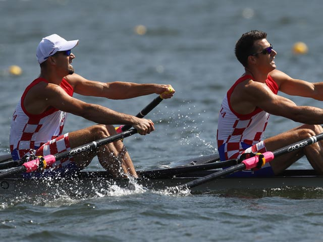 RIO DE JANEIRO, BRAZIL - AUGUST 06:  Martin Sinkovic and Valent Sinkovic of Croatia compete during the Men's Double Sculls Heat 3 on Day 1 of the Rio 2016 Olympic Games at the Lagoa Stadium on August 6, 2016 in Rio de Janeiro, Brazil.  (Photo by Cameron Spencer/Getty Images)