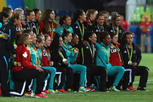 during the Women's Gold Medal Rugby Sevens match between Australia and New Zealand on Day 3 of the Rio 2016 Olympic Games at the Deodoro Stadium on August 8, 2016 in Rio de Janeiro, Brazil.