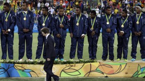 Britain's Princess Anne, walks back after handing over gold medals to the Fiji's players during the medal ceremony for men's rugby sevens at the Summer Olympics in Rio de Janeiro, Brazil, Thursday, Aug. 11, 2016. (AP Photo/Themba Hadebe)