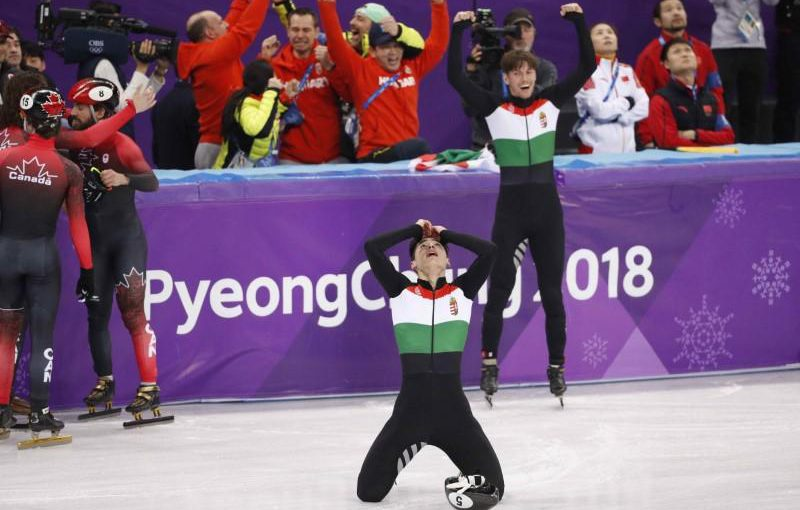 Short Track Speed Skating Events - Pyeongchang 2018 Winter Olympics - Men's 5000m Relay Final - Gangneung Ice Arena - Gangneung, South Korea - February 22, 2018 - Hungary's team reacts to winning gold. REUTERS/John Sibley
